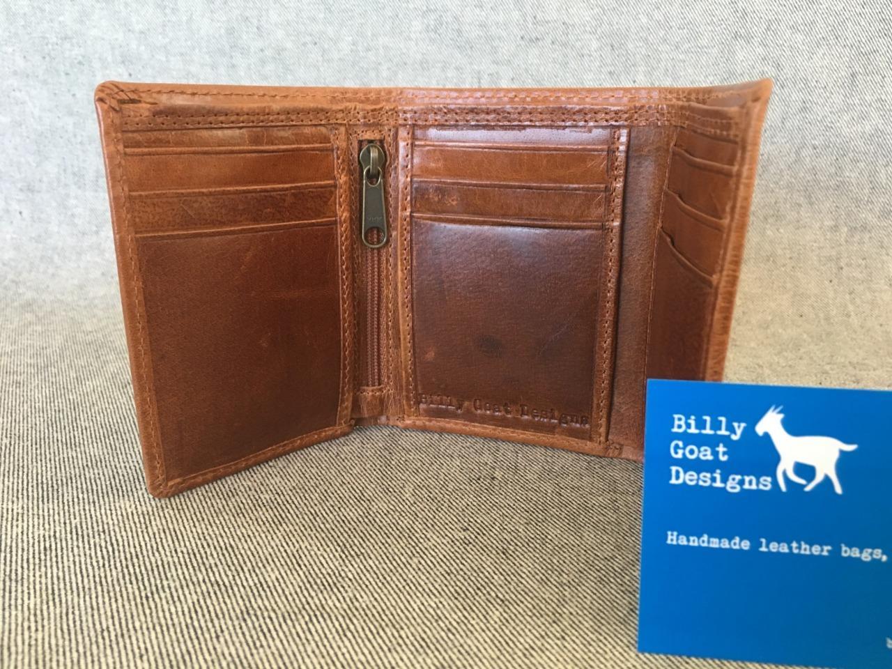 *NEW* Waxed Buffalo Leather Trifold Wallet W3ZA Zip Card Cash Billy Goat Designs