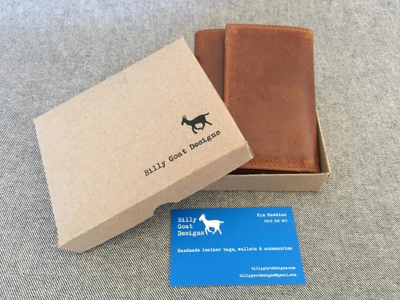 Handmade-Buffalo-Leather-Wallet-CWW3A-Purse-Unisex-Zip-Billy-Goat-Designs-Women
