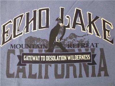 New-Echo Lake California Mountain Retreat Adult Mens Size L Large Shirt