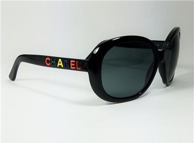 0169386b1218d CHANEL Black Limited Ed 5138 c.501 S8 Multi-Color Signature Logo Sunglasses -RARE