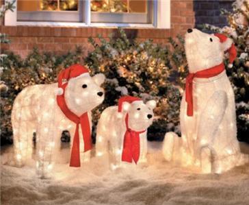 Set Of 3 Lighted Christmas Santa Polar Bears Display