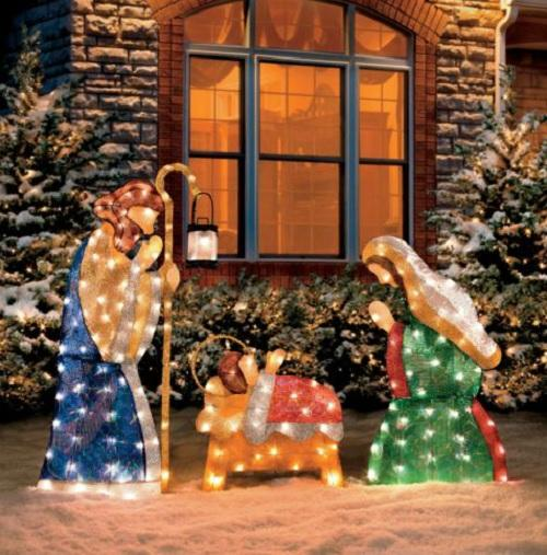 Nativity Scene Outdoor Christmas Decoration: 3 PC SET Outdoor Lighted HOLY FAMILY NATIVITY SCENE