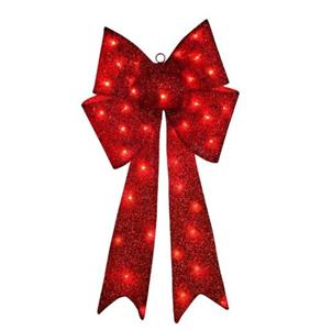 "14"" OUTDOOR Pre Lit Lighted RED CHRISTMAS BOW Holiday ..."