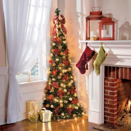 6' Lighted Pre Lit Decorated CORNER PULL UP ARTIFICIAL