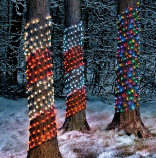 multi red white outdoor led tree trunk christmas net lights yard holiday decor ebay. Black Bedroom Furniture Sets. Home Design Ideas