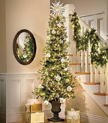 7 FOOT Lighted Pre Lit SLIM CORNER ARTIFICIAL CHRISTMAS ...