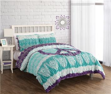 full queen girls teen teal purple white ruched peace sign comforter bedding set ebay. Black Bedroom Furniture Sets. Home Design Ideas