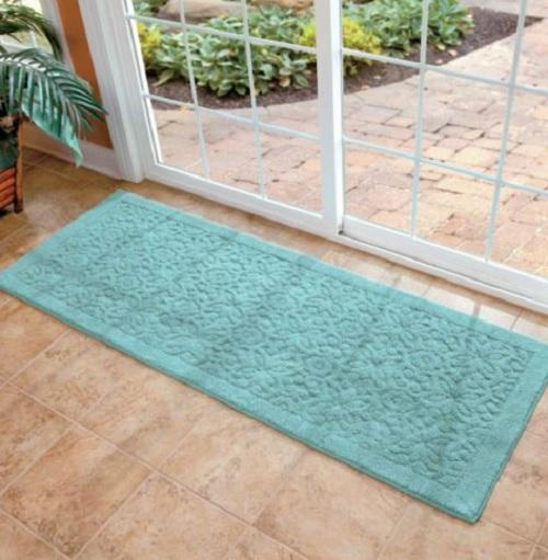 extraordinary washable kitchen rugs | NON SLIP 100% Cotton Washable SCROLL 26x72 RUNNER AREA RUG ...