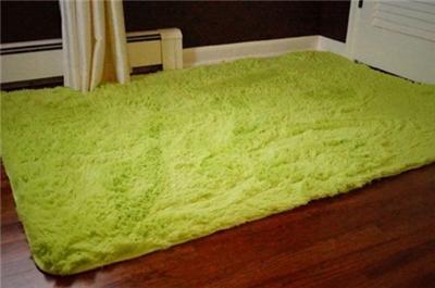 Teen College Dorm Anti Slip Lime Green Fuzzy Soft Plush
