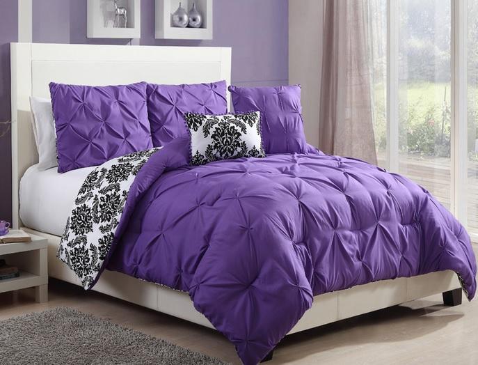 Teen Girls Black White Purple Reversible Pintuck Damask