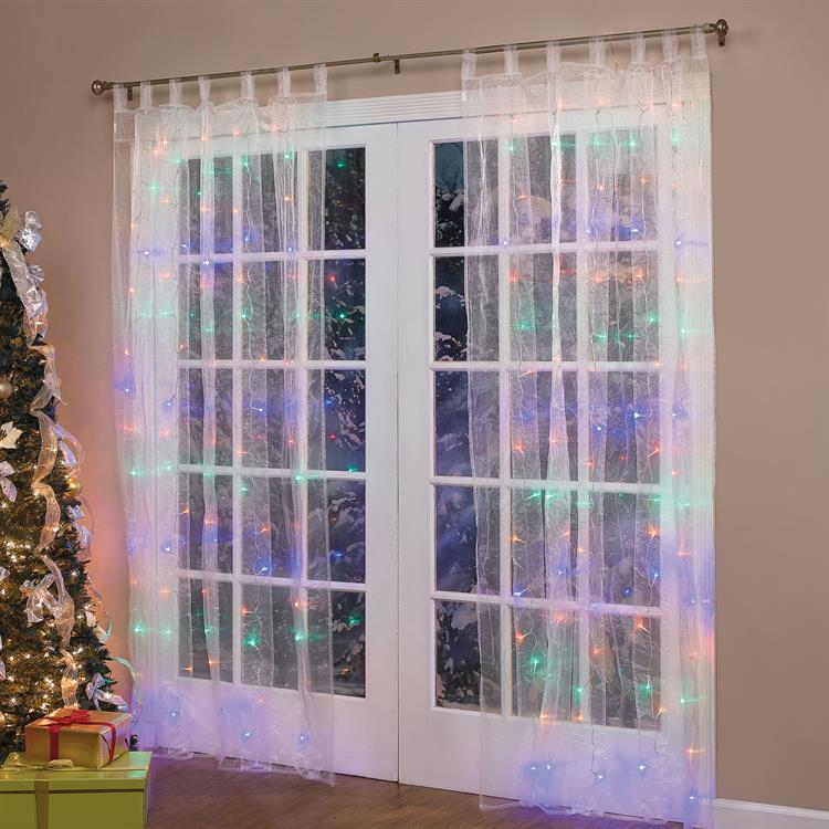 "84"" LIGHTED PRE LIT CHRISTMAS LIGHT WINDOW PANEL CURTAINS"