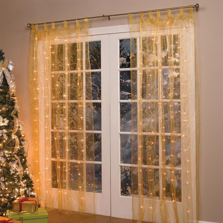 84 Quot Lighted Pre Lit Christmas Light Window Panel Curtain