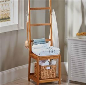 Teak Bath Stool Seat With Towel Rack Bathroom Storage