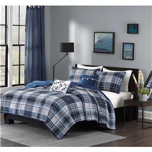 Boys Teen Blue Gray Grey White Cozy Varsity Plaid Quilt