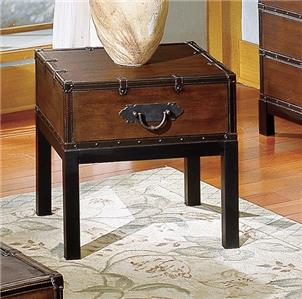 Gorgeous trunk style end side table antique cherry drawer - Antique side tables for living room ...