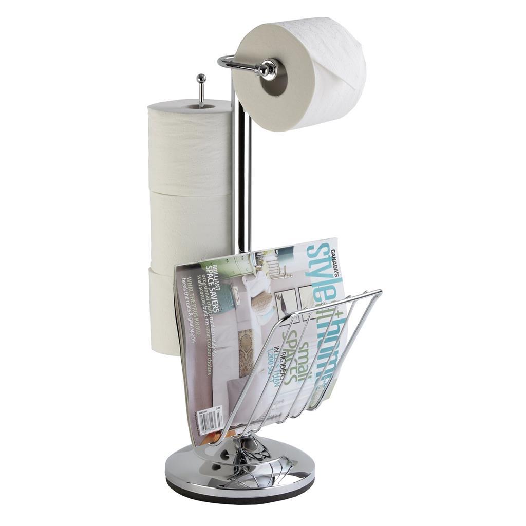 free standing pedestal toilet paper holder with roll storage magazine rack. Black Bedroom Furniture Sets. Home Design Ideas