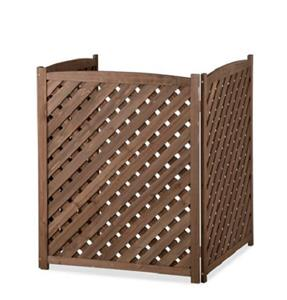 Brown Wood Lattice Air Conditioner Screen Cover Outdoor
