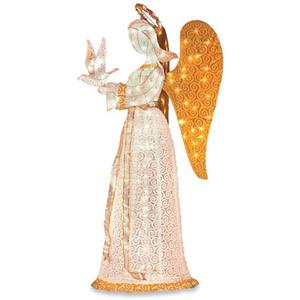 Outdoor Lighted Christmas Angel With Dove Sculpture Yard