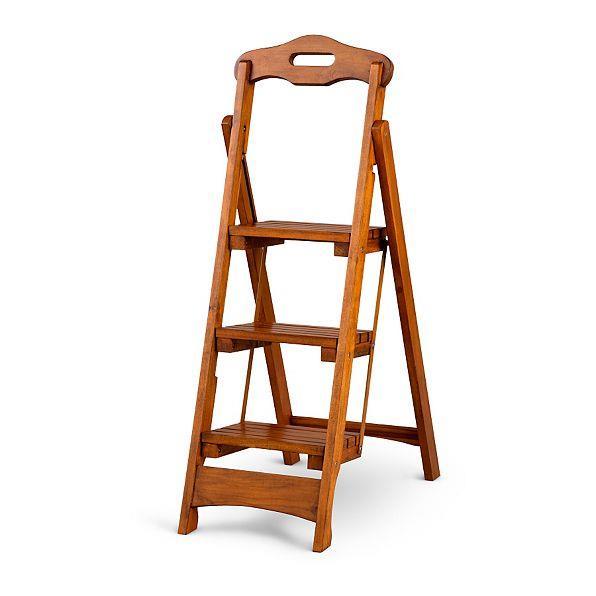 Solid Wood Folding Portable 3 Step Stool Ladder Kitchen