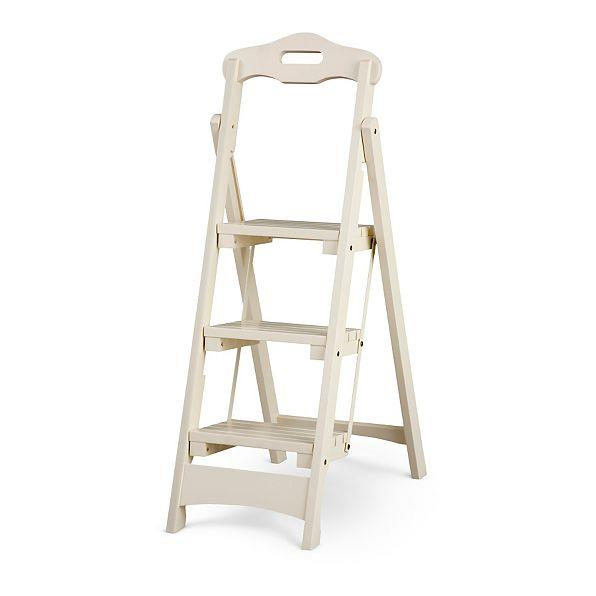 Solid Wood Folding Portable 3 Step Stool Ladder Kitchen