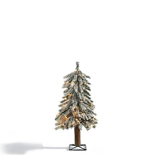 Realistic rustic lighted flocked alpine tree indoor for Alpine decoration