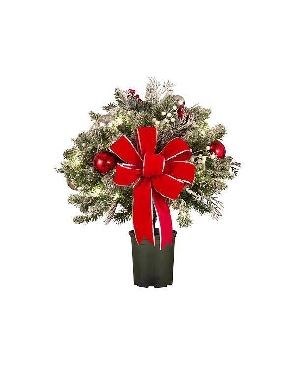Christmas Snow Outdoor Pre Lit Cordless Wreath Garland Urn