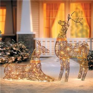 SALE Set 2 Lighted Rustic Grapevine Deer Doe Buck Outdoor ...