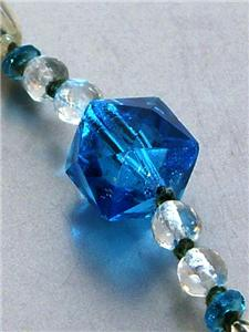 1920s ART DECO CZECH CRYSTAL & PEACOCK BLUE ART GLASS SAUTOIR NECKLACE
