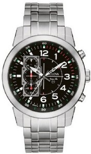 New Chronograph Bulova Men 96A116 Marine Star Black Luminous Watch