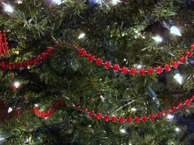 red clear bead christmas tree garland - Beaded Christmas Garland