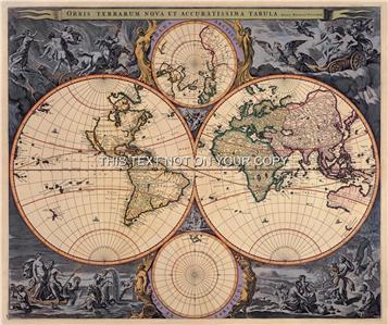 Visscher antique vintage blue colour color old world map plan double reproduction antique map orbis terrarum nova et accuratissima tabula gumiabroncs Images