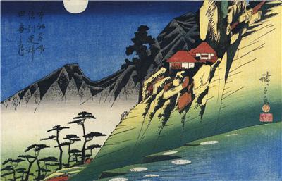 2 Repro Japanese Woodblock Prints set by Ando Utagawa Hiroshige Pictures Scenes