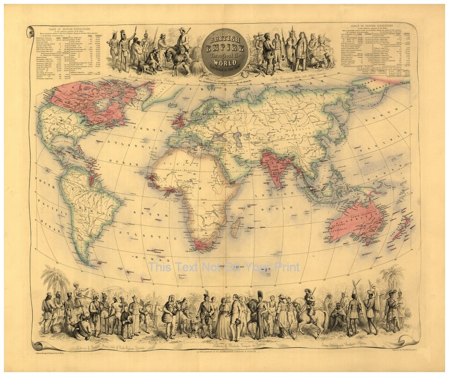 Large Framed Map Of The World.Large A1 Victorian British Empire Throughout The World Antique