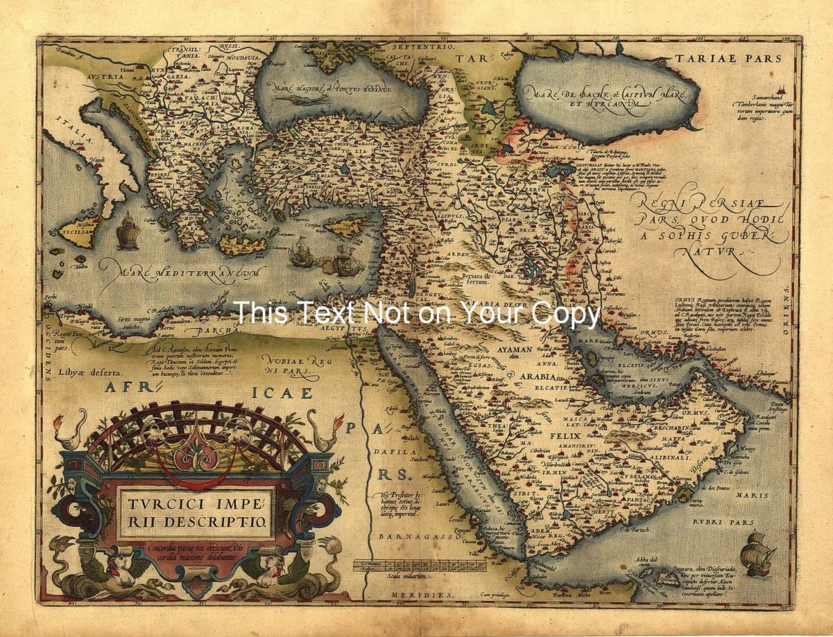 A Large Old Saudi Arabia Turkey Turkish Empire Middle East - Vintage map of egypt