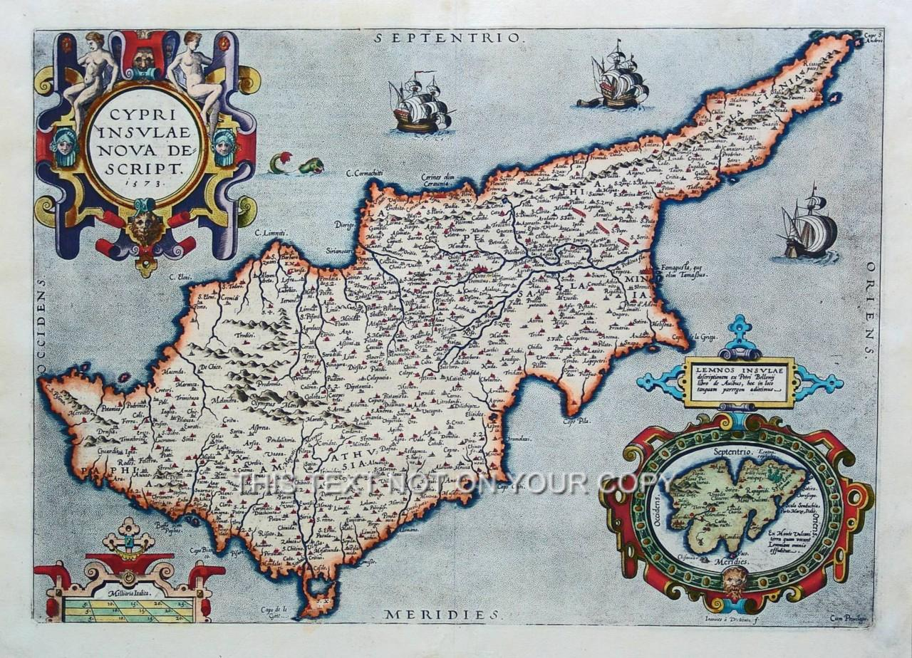 Abraham Ortelius Cyprus Lemnos Old Colour Cypriot Color Antique