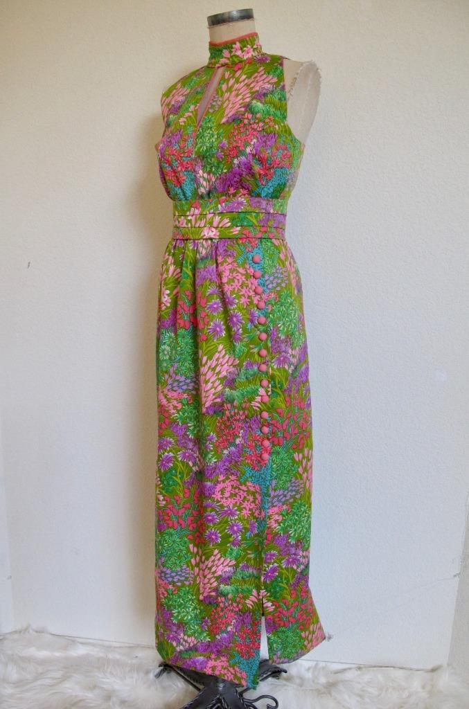 Vintage 1970s XS-S Mondrian inspired polyester halter maxi dress