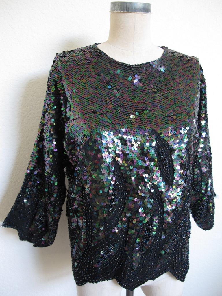 1980/'s Vintage Blue /& Black Heavily Beaded Sequin Deco Silk Flapper Top