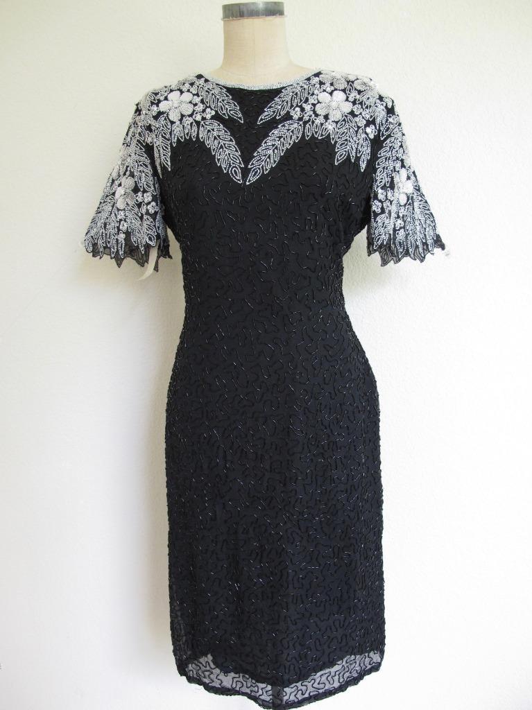 black silk beaded sequined dressy vest short black silk beaded disco vest Vintage black sequined vest size L black sequined silk vest
