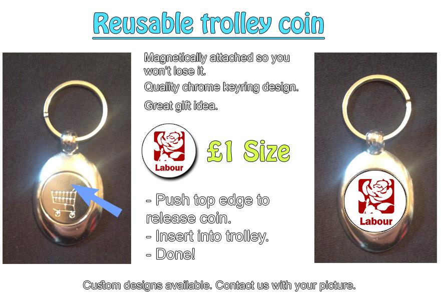 Details about Labour Party Rose (Square) Logo on Magnetic Keyring + Coin  Token For Trolley