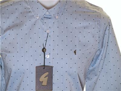 New Men/'s Gabicci Vintage Long Sleeve Stretch Shirt Small Stripe Button Down