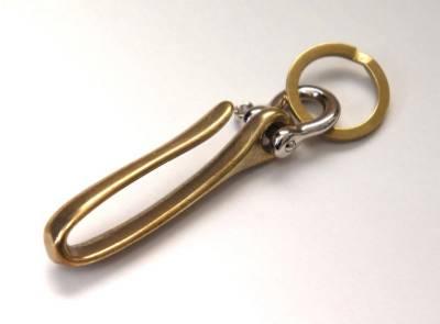 #1 2 TONE SOLID BRASS /& NICKEL FISHHOOK KEY CHAIN Keyring Shackle Split Ring EDC