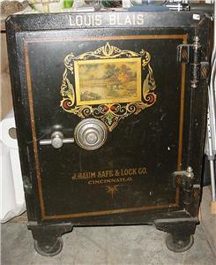 antique louis blaise cast iron safe 1908 j baum safe lock co cincinnati ohio ebay. Black Bedroom Furniture Sets. Home Design Ideas