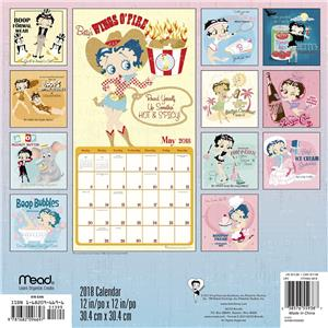 30cm x 30cm BETTY BOOP 2018 CALENDAR OFFICIAL SQUARE WALL NEW BY MEAD