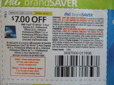 20 Coupons $7 1 Crest 3D White 2 Hour Express 4ct