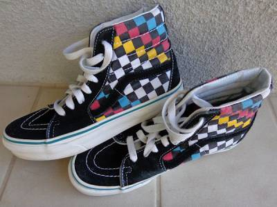 VINTAGE VANS OFF THE WALL HIGH TOP CHECKERED SKATEBOARD ...