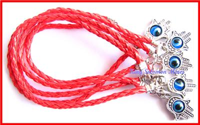 string bracelet christianity 5 leather string bracelet evil eye hamsa kabbalah 8386