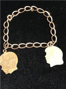7a9d2c0dfcc97 Details about VINTAGE 1/20 12K GOLD FILLED CHARM CHILDREN BOY-GIRL DATE  1957 BRACELET 7