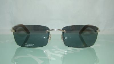 503fdd1b380 Cartier Wood Rimless Sunglasses
