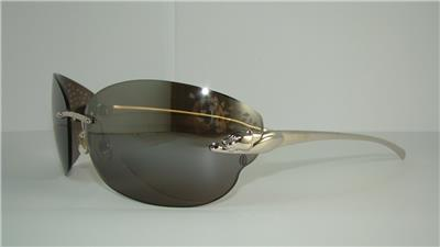 eeac9938729 CARTIER PANTHERE T 8200848 SMOOTH PLATINUM FINISH SUNGLASSES Grey Mirrored  Lens