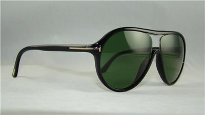 aebd566254e Tom Ford Edison TF 443 FT0443 01N BLACK Aviator Sunglasses Green Lens Size  58